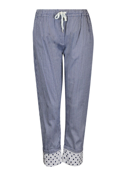 Striped Cotton Pant with Polka Dot Cuff, Navy, original