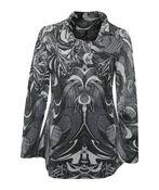Cowl Neck Long Sleeve Top, Charcoal, original image number 0