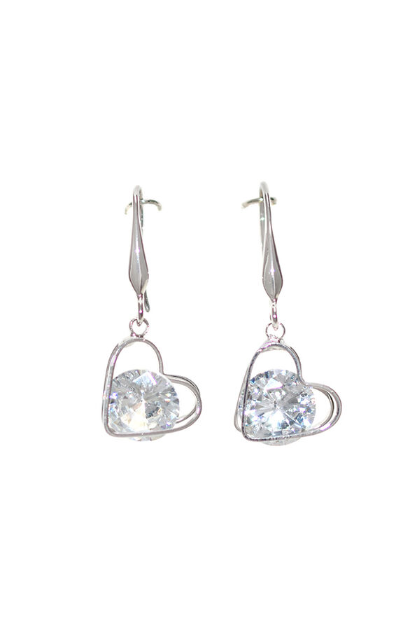 Falling Heart with Crystal Earrings, Silver, original image number 0