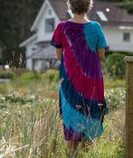 Short Sleeve Multi-Colour Tie Dye Swing Dress, Purple, original image number 1