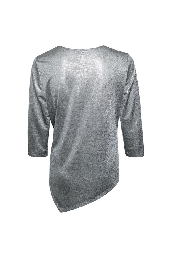 Metallic 3/4 Sleeve Top with Asymmetrical Hem, Silver, original image number 1