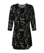 Face It Printed Tunic, Black, original image number 0