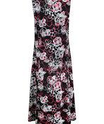 Sleeveless Puff Print Swing Dress, Black, original image number 1