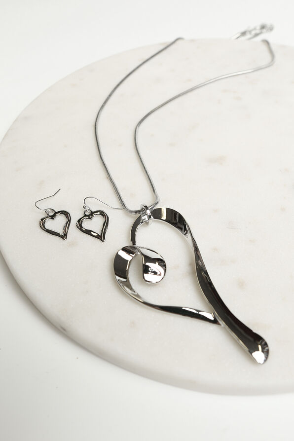 Open Heart Statement Necklace Set, Silver, original image number 1