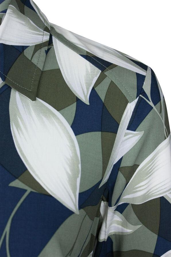 Geo Leaf Print Long Sleeve Blouse, Green, original image number 2