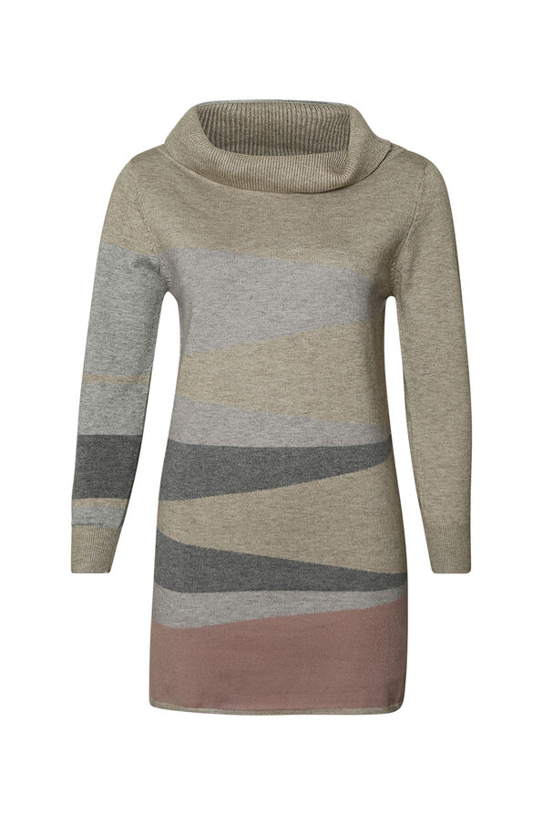 Diagonal Stripe Tunic with Turtle Neck, Pink, original image number 0
