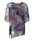 Paisley Print Short Sleeve with Keyhole Neckline, Purple, original image number 0