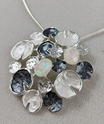 Lily Pads Necklace and Earrings Set, White, original image number 2