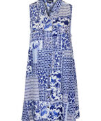 Patch Print Sleeveless Tunic with Collar, Blue, original image number 0