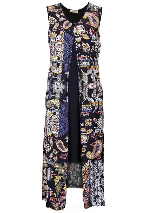 Printed Overlay Sleeveless Mid Dress, Black, original