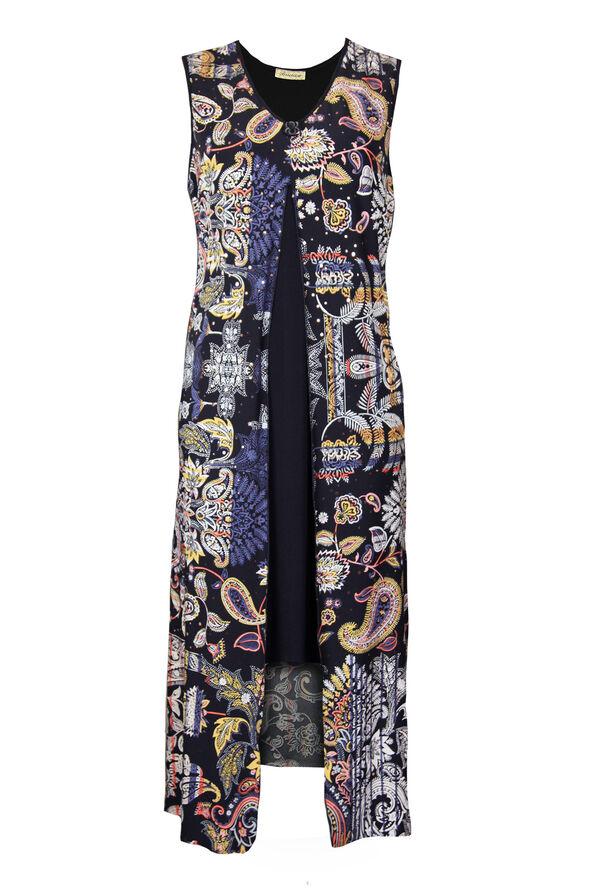 Printed Overlay Sleeveless Mid Dress, Black, original image number 0