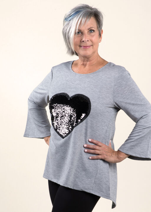 Hi-low Top with Sequence Heart, Grey, original