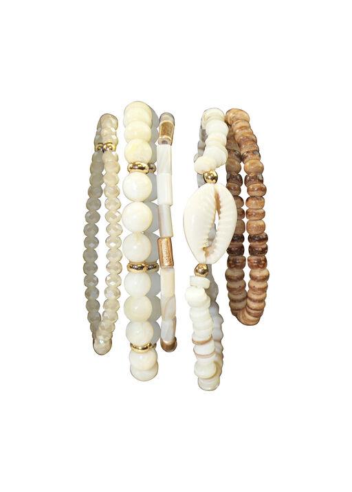 Five Pack Wood and Shell Stretch Bracelets, Beige, original