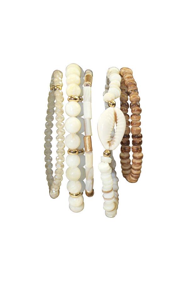 Five Pack Wood and Shell Stretch Bracelets, Beige, original image number 0