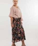 Paisley Chiffon Skirt, Black, original image number 3
