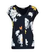 Chiffon V-Neck Shirt with Bling Accent , Black, original image number 0
