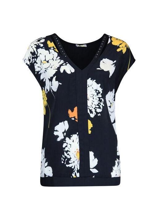 Chiffon V-Neck Shirt with Bling Accent , Black, original