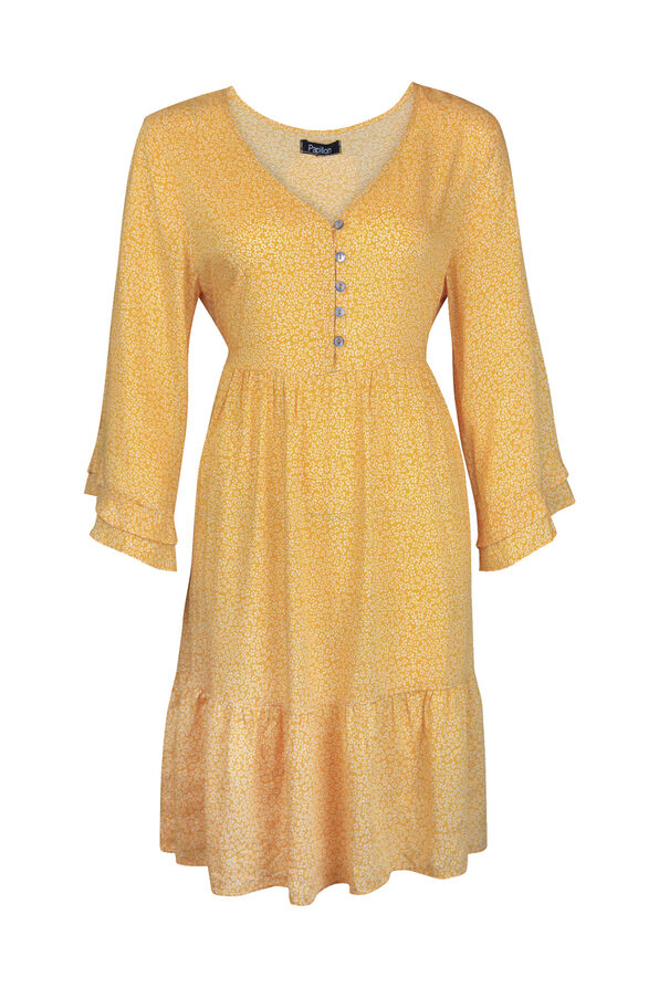 Boho 3/4 Ruffle Sleeve Dress, Yellow, original image number 0
