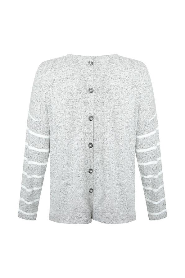 Gemma Button Back Long Sleeve Top, Grey, original image number 1