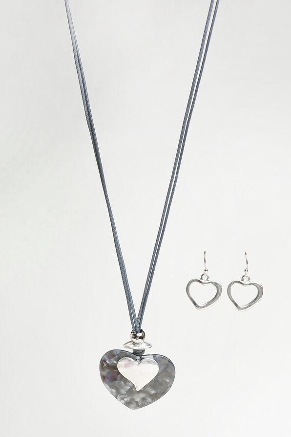 Long Heart Pendant Necklace Set, Silver, original image number 0