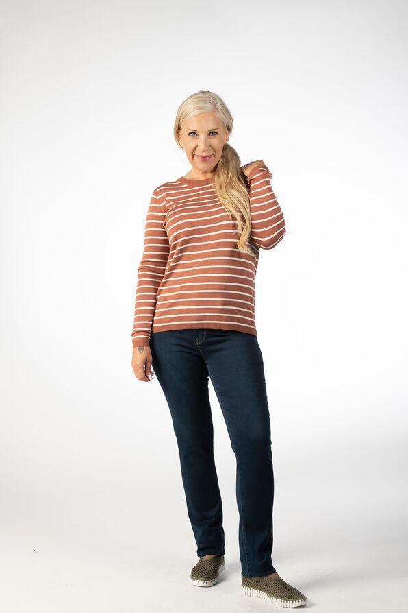 Striped Crewneck Sweater, Rust, original image number 0