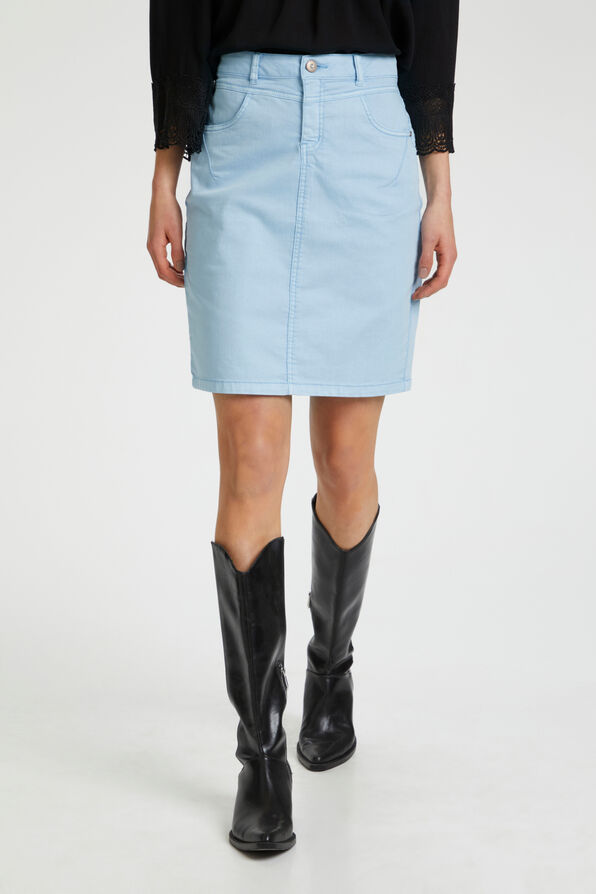 Cream Amalie Denim Midi Skirt, Blue, original image number 0