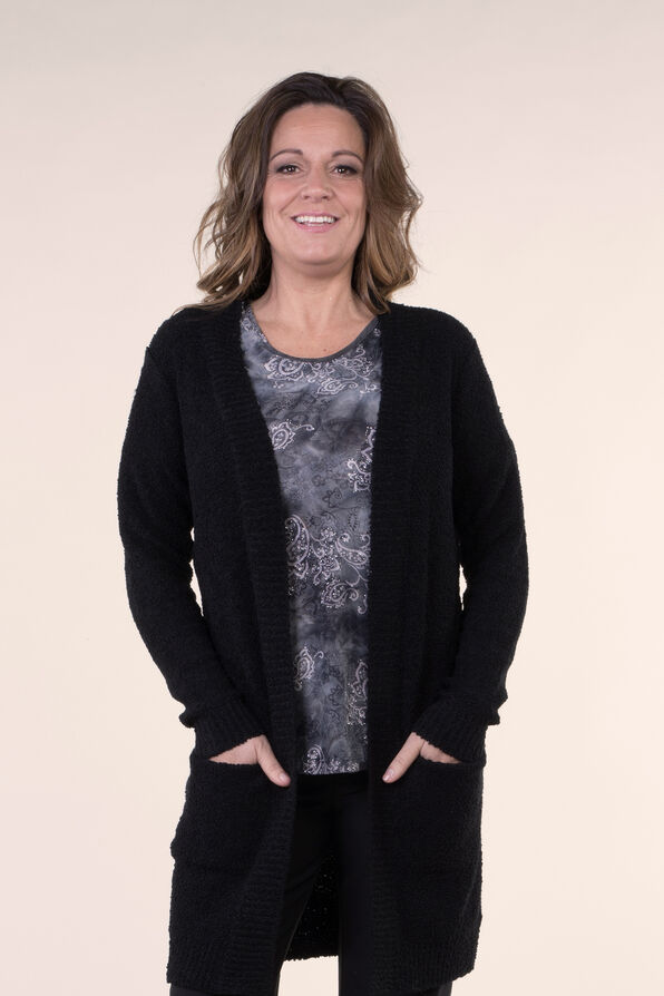 Beautiful Boucle Knit Cardigan, Black, original image number 0