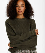 Cable-Knit Pull-Over Sweater , Olive, original image number 0