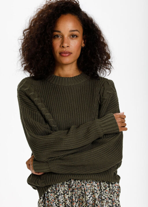 Cable-Knit Pull-Over Sweater , Olive, original