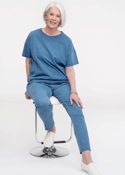 Pull On Ankle Length Leggings, Blue, original