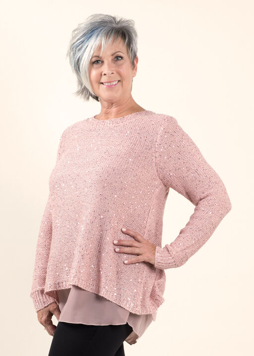 Sequin Knit Sweater, Pink, original