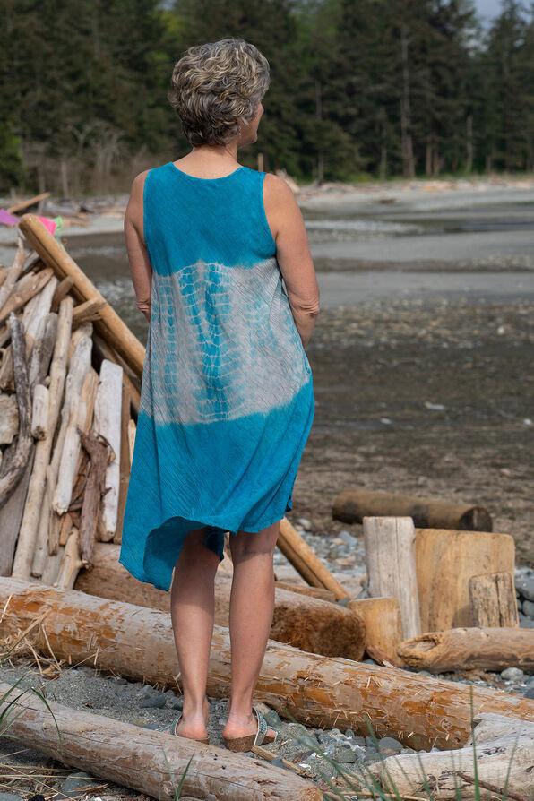 Sleeveless Dip Dye Swing Dress, Teal, original image number 1