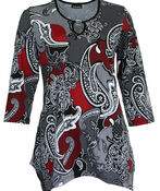 Paisley Print with Key Hole Neckline, , original image number 0