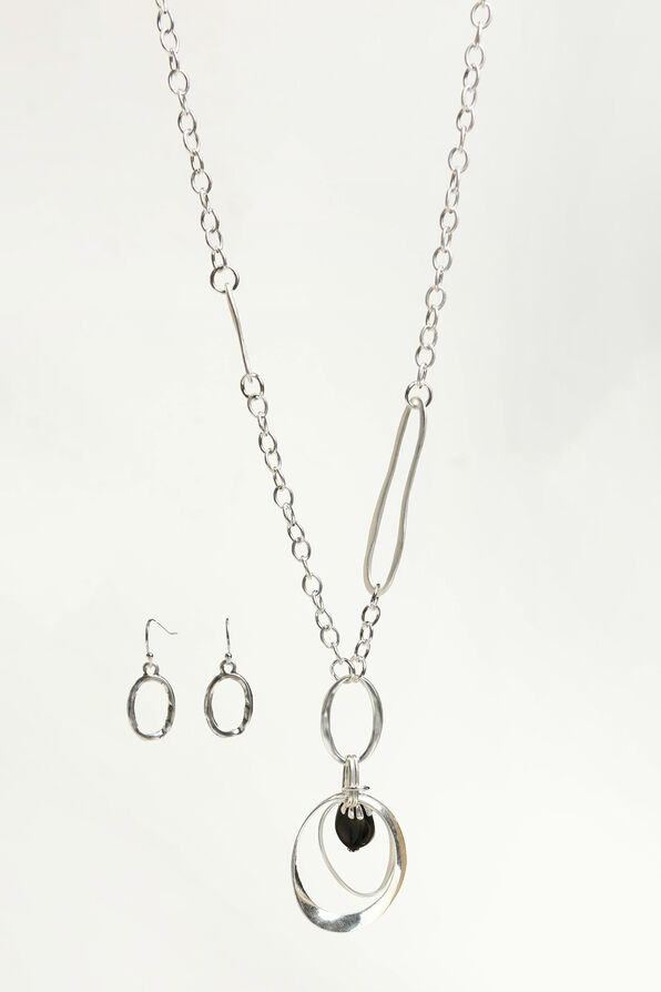 Hammered Earring Necklace Set, Silver, original image number 0