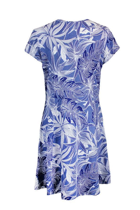 Puff Print Short Sleeve Fit and Flare Dress, Denim, original image number 1