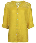 Crochet Shoulder Linen Top with button Front, , original image number 1