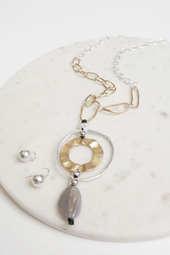 Silver and Gold Colour Necklace Set, Multi, original image number 1