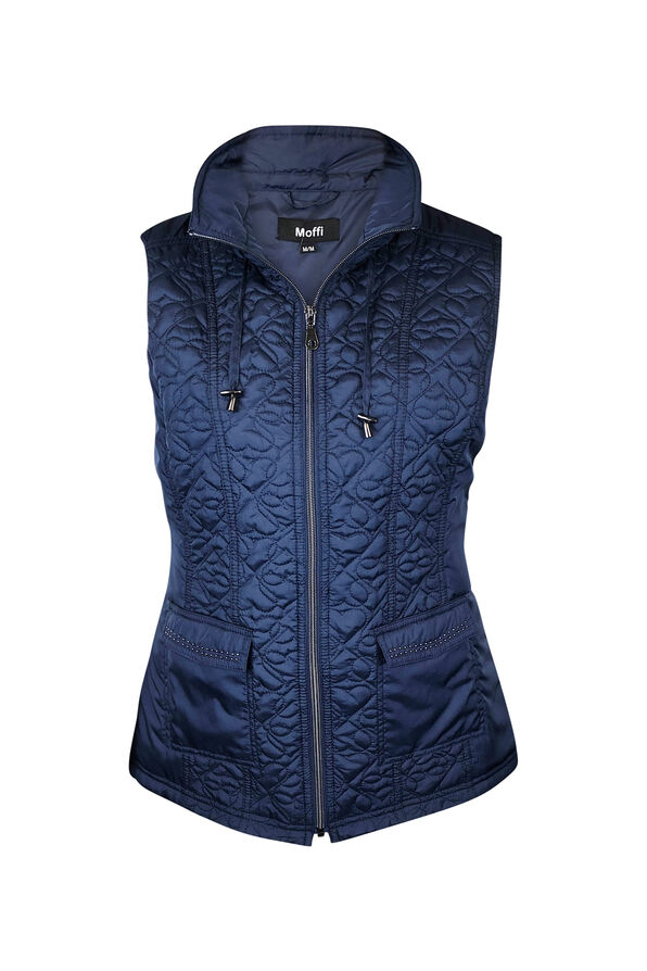 Quilted Heart Vest with Studded Pockets, , original image number 3