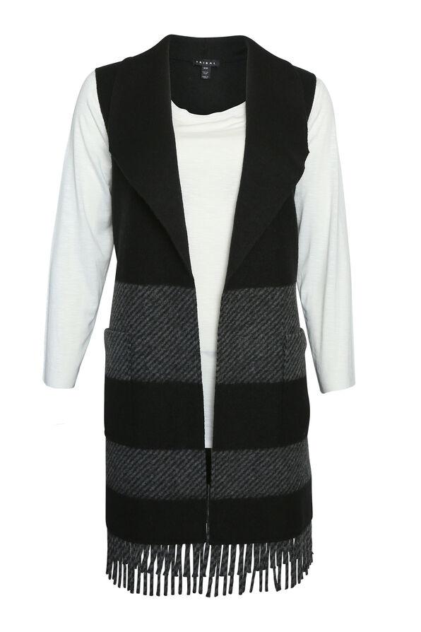 Fringe Tunic Vest, Black, original image number 0