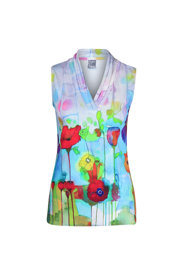 V-Neck Sleeveless Top in Watercolour Print, Turquoise, original image number 0