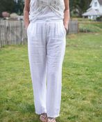 Pull-On Linen Pants with Drawstring, White, original image number 1
