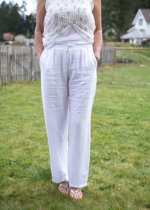 Pull-On Linen Pants with Drawstring, White, original