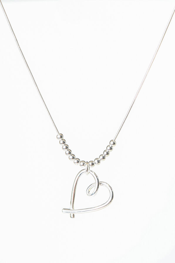 Heart Necklace, Silver, original image number 0