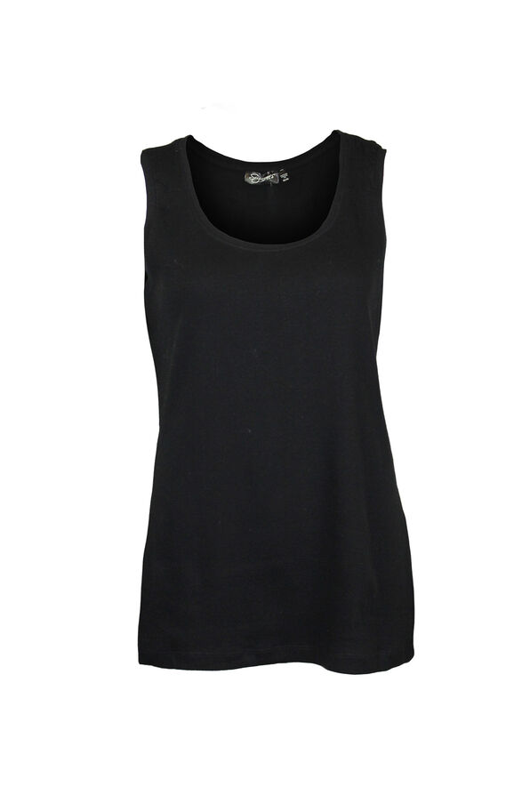 Ribbed Scoop Neck Sleeveless Top, , original image number 1