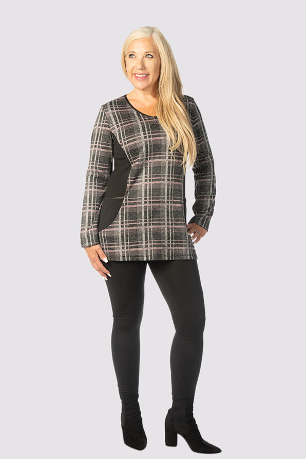 Modernly Plaid Sweater Tunic, Pink, original image number 0