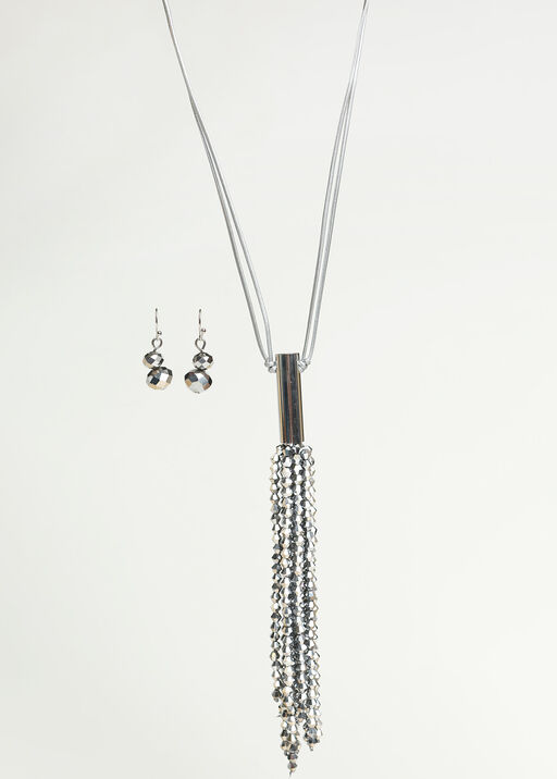 Long Sparkle Necklace Set , Silver, original