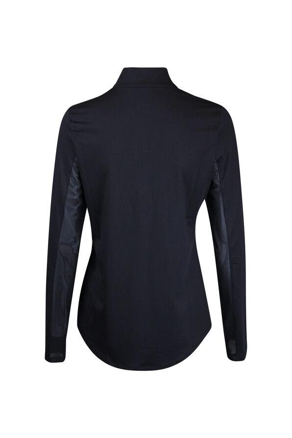 Mid Zip Mock Neck Golf Long Sleeve, Black, original image number 1