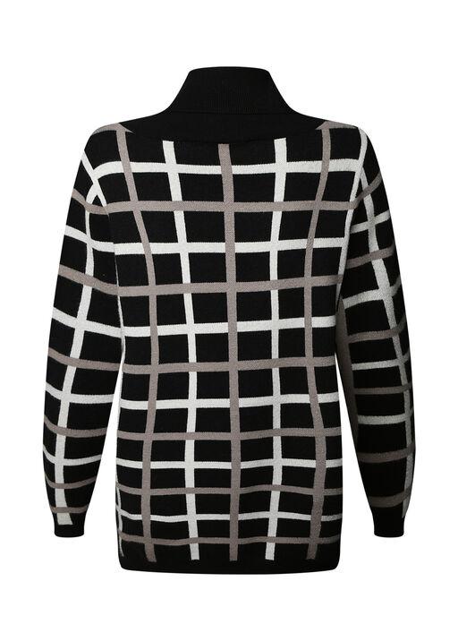 Ayla Plaid Turtle Neck Sweater, Taupe, original