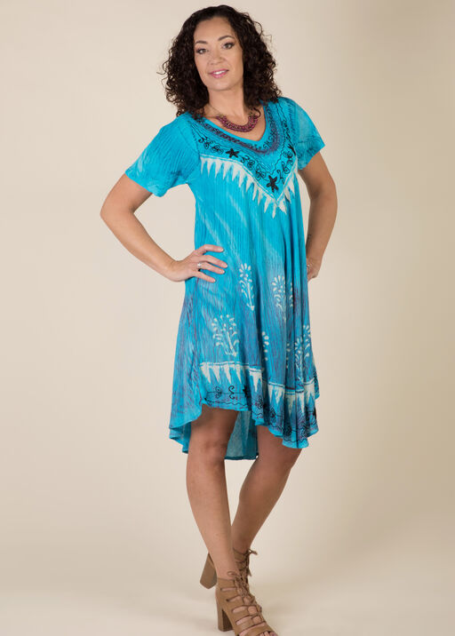 Short Sleeve Embroidered Trim Swing Dress, Turquoise, original