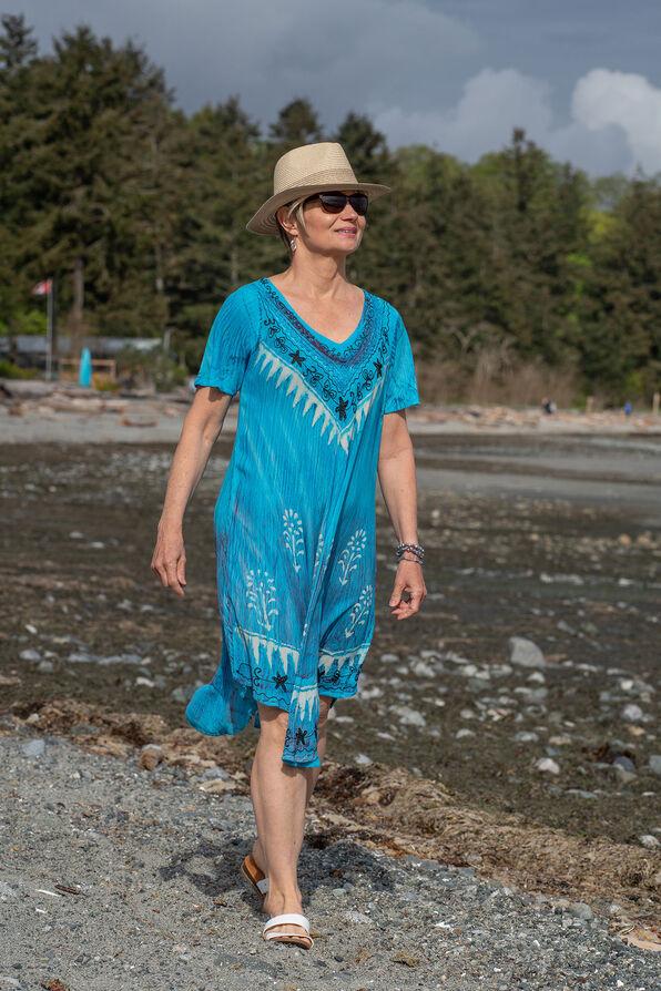 Short Sleeve Embroidered Trim Swing Dress, Turquoise, original image number 0